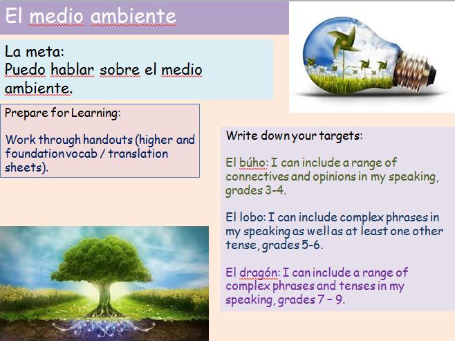 Revision Environment Speaking GCSE AQA Spanish