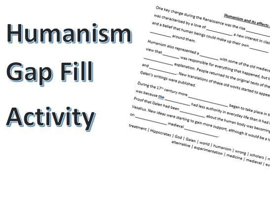 Humanism Gap Fill Activity
