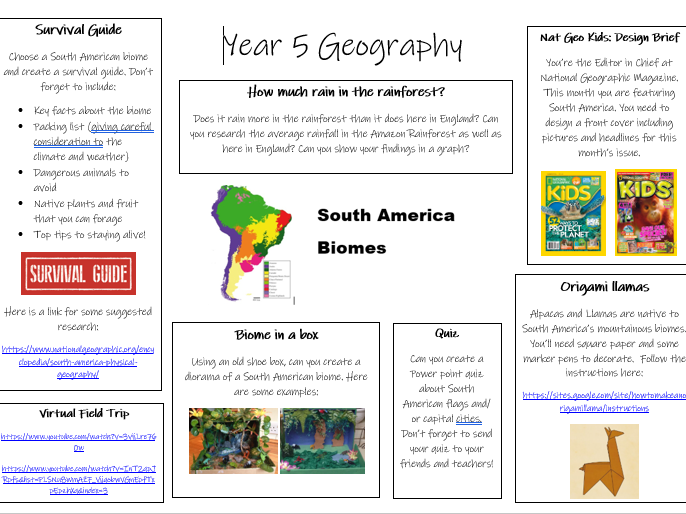 Year 5: Geography - South American Biomes