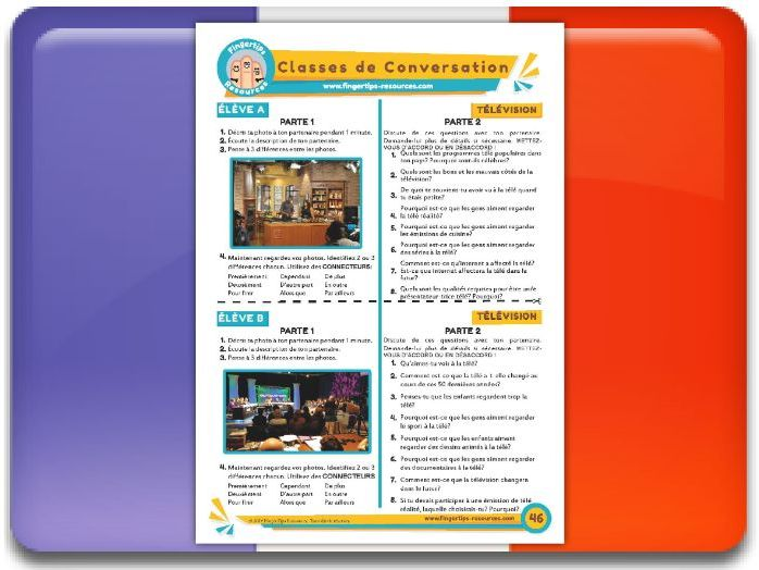 La télévision - French Conversation Activity