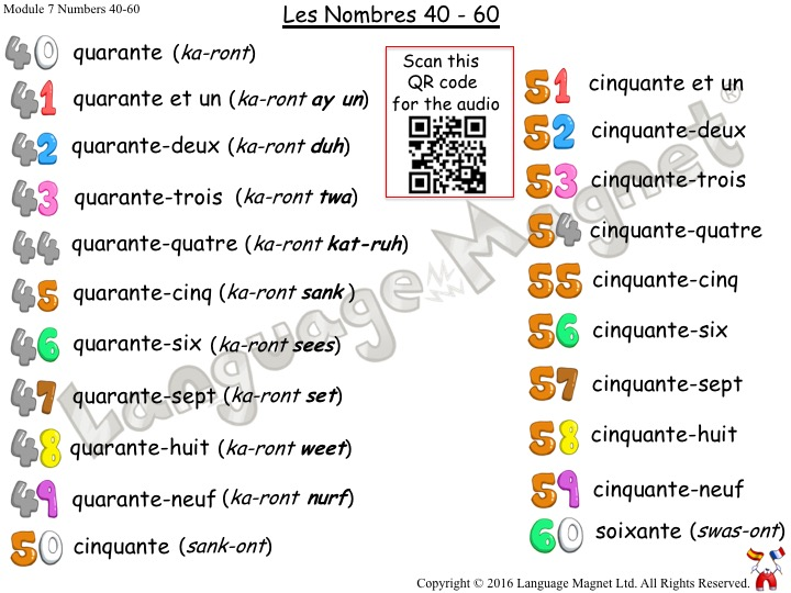 French Numbers 40 to 60 Audio Vocabulary Sheet