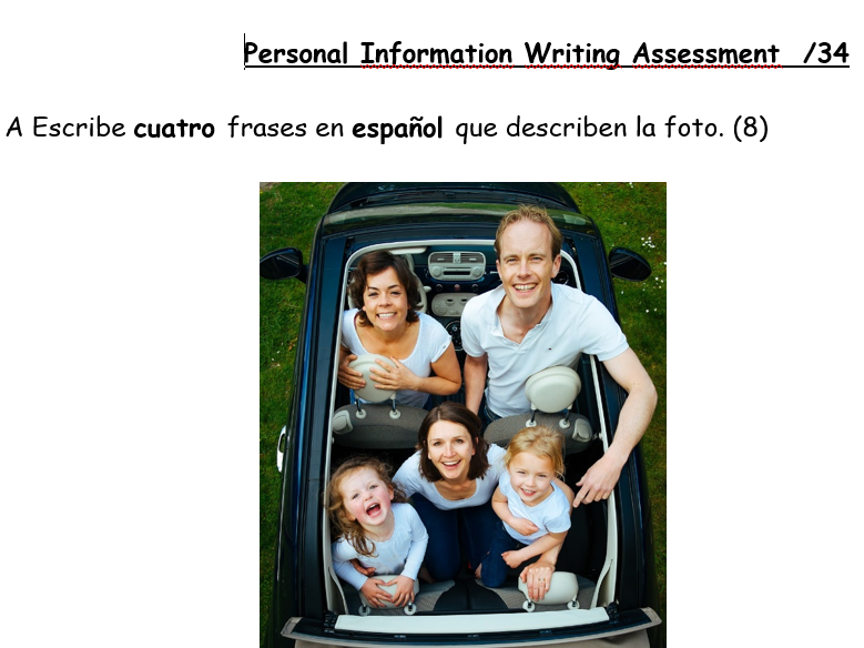 Spanish Personal Information New GCSE 9-1 Writing Assessment