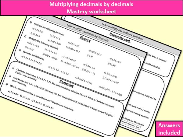 Multiplying decimals by decimals - mastery worksheet