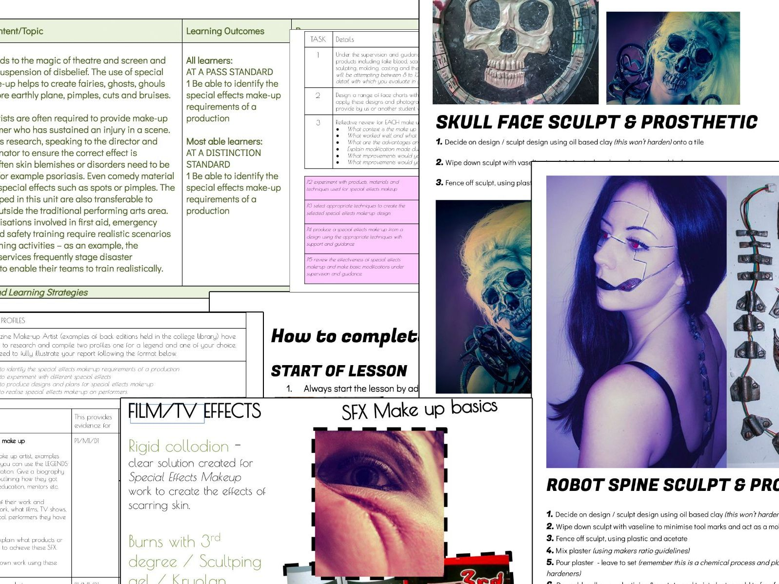 Btec L3 Production Arts Special effects Make-up SFX - FULL PACK - SOW, assignments & resources