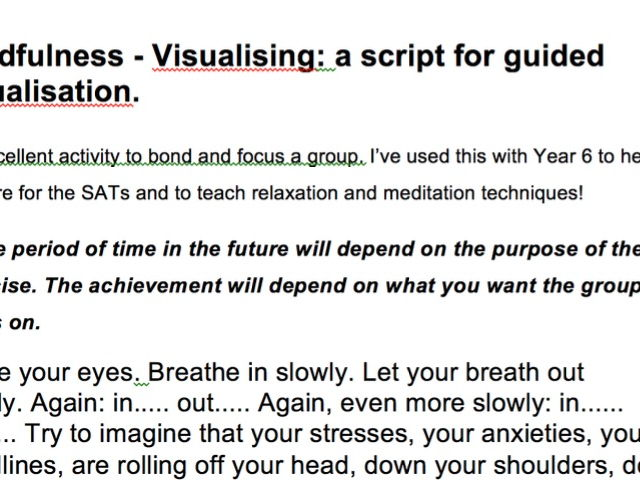 Mindfulness - Script for visualisation relaxation technique