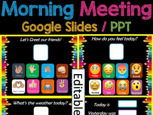 Back to School Morning Meeting Slides Paperless/Digital for PreK, Kinder & 1st