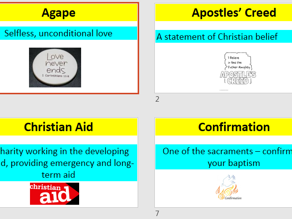 Christianity Display using keywords and definitions. GCSE AQA new spec