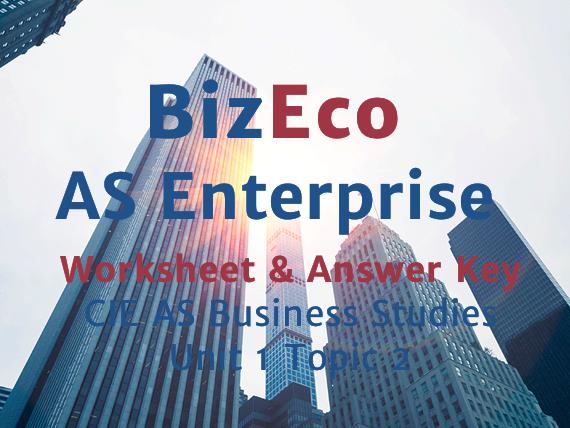 Unit 1 - Enterprise - CIE AS Business - Worksheet