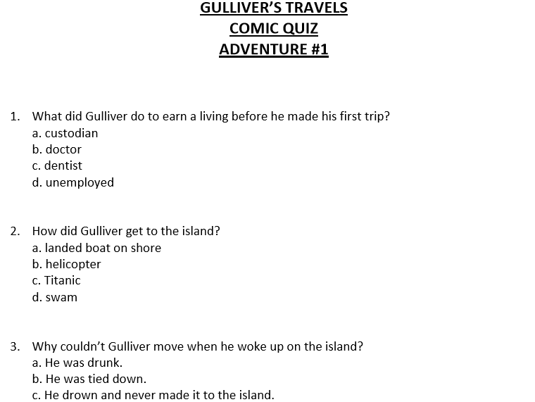 Gulliver's Travels Short Multiple Choice Quiz