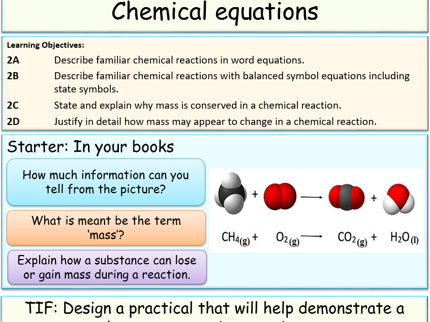 Balanced word and chemical equations