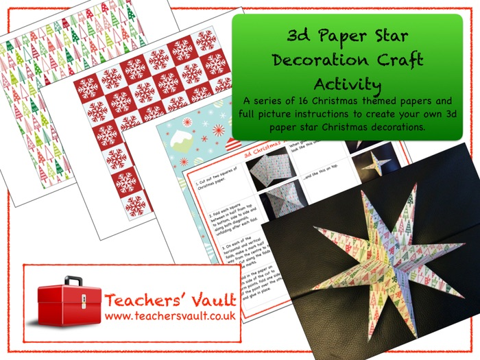 3d Paper Star Decoration Christmas Craft Activity
