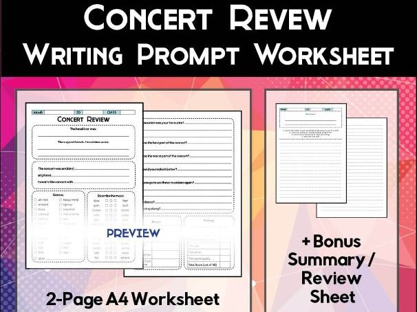 Concert Review Worksheet
