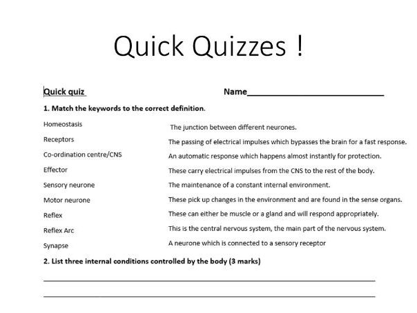 New AQA 2016 Biology Chapter 8-10 Recall Quick quizzes