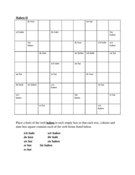 Haben German verb present tense Sudoku