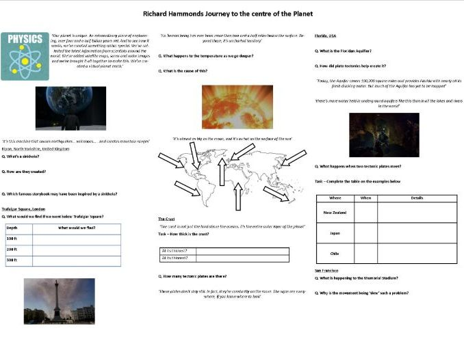 Richard Hammond's Journey To the centre of the Planet - Worksheet to support the BBC Documentary