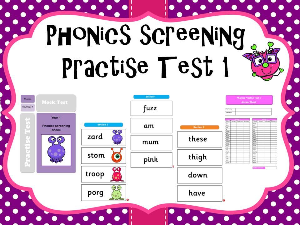Phonics screening practise test 1