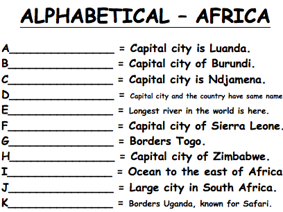Alphabetical - Africa Worksheet (KS3 Geography)