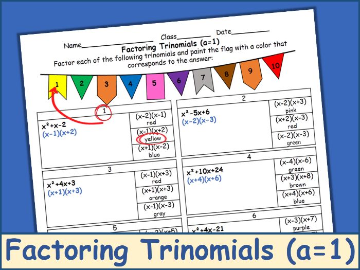 Factoring Trinomials A 1 Coloring Activity Teaching Resources