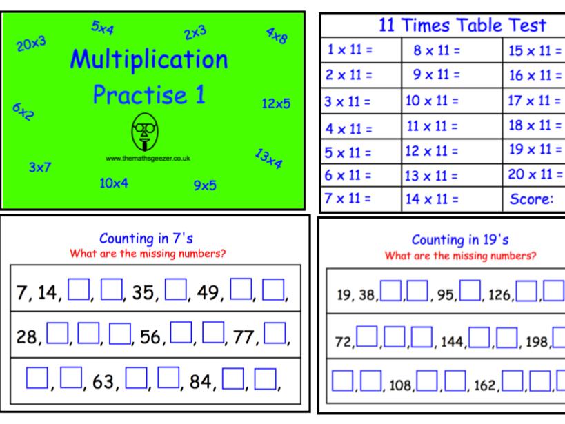 Multiplication Practise 1