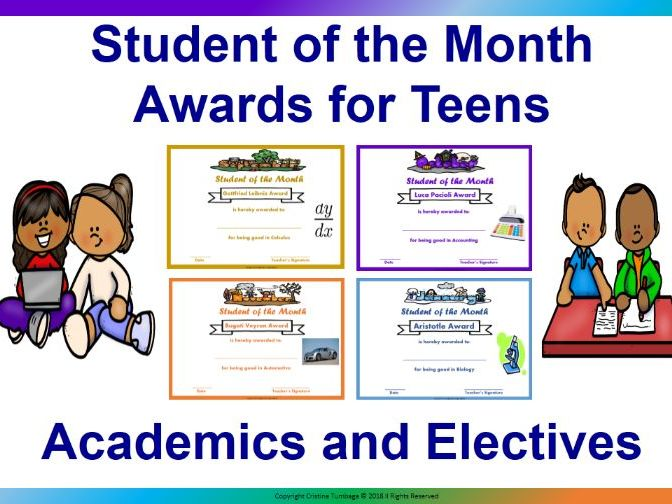 Editable Student of the Month For Teens- Academics and Electives