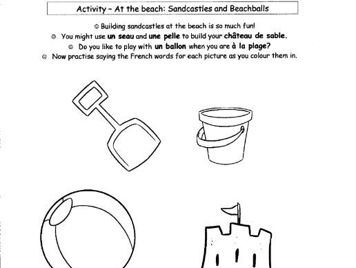 French: At the Beach - Sandcastles and Beachballs