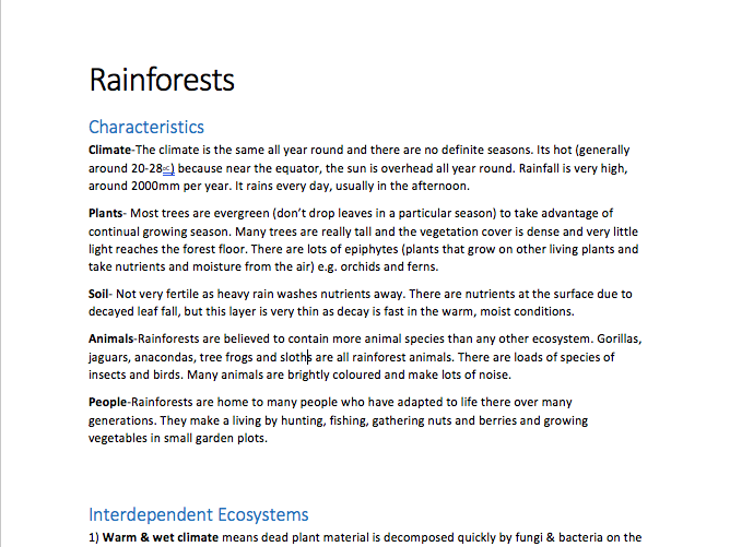 GCSE Geography- Rainforests Notes (a complete comprehensive guide!)