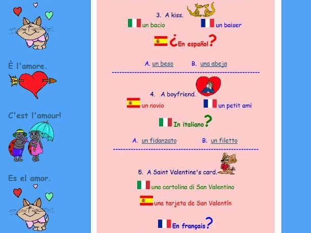 'Romantic' Resources - French, Spanish, Italian - for Valentine's Day