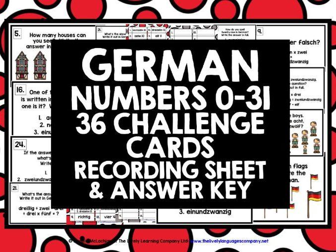 GERMAN NUMBERS 0-31 CHALLENGE CARDS