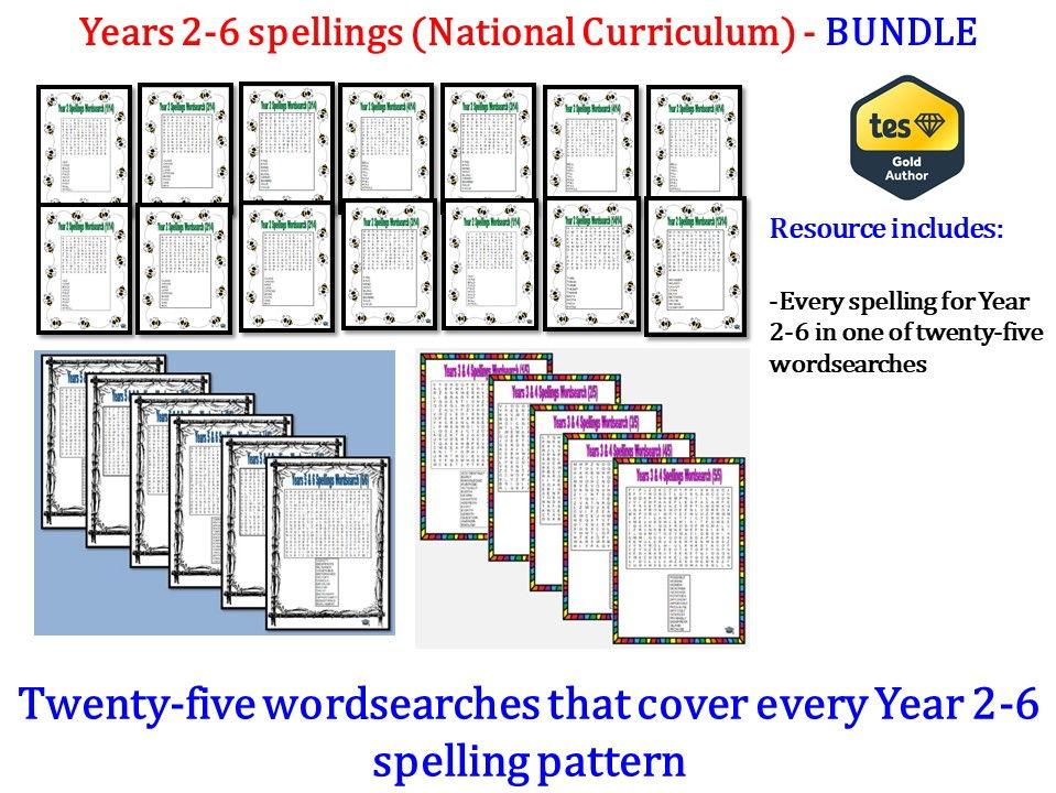 Years 2-6 spelling wordsearch bundle