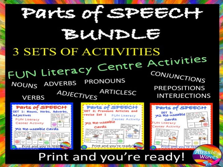 PARTS OF SPEECH Centre Activities BUNDLE of 3 SETS Can you identify parts of speech?