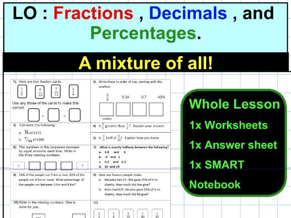 Percentage - Fraction - Decimal - a mixture of all three - SATS KS2 - WHOLE LESSON