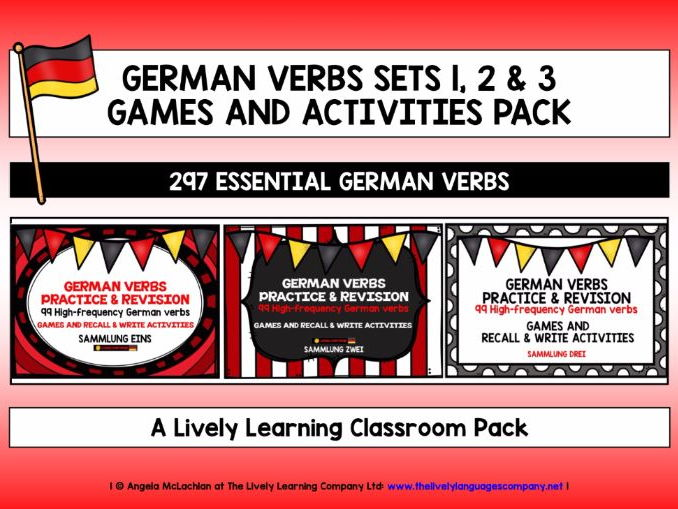 GERMAN VERBS SETS 1, 2 & 3 - 297 HIGH-FREQUENCY VERBS - GAMES & ACTIVITIES