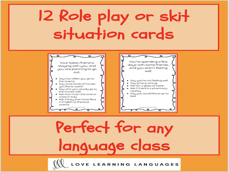 Role play or skit situation cards for French, Spanish or any language class