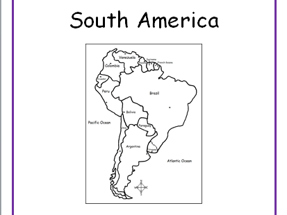 SOUTH AMERICA - Printable handouts for each country of South America