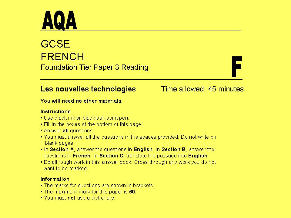 AQA GCSE French (new spec) Foundation Tier Reading - Les nouvelles technologies