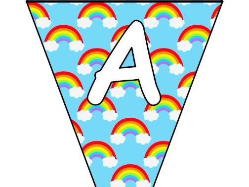 Printable bunting display bulletin letters numbers: Rainbow Thank You NHS