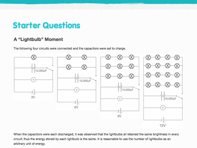 Energy in Capacitors - Starter Questions and Answers