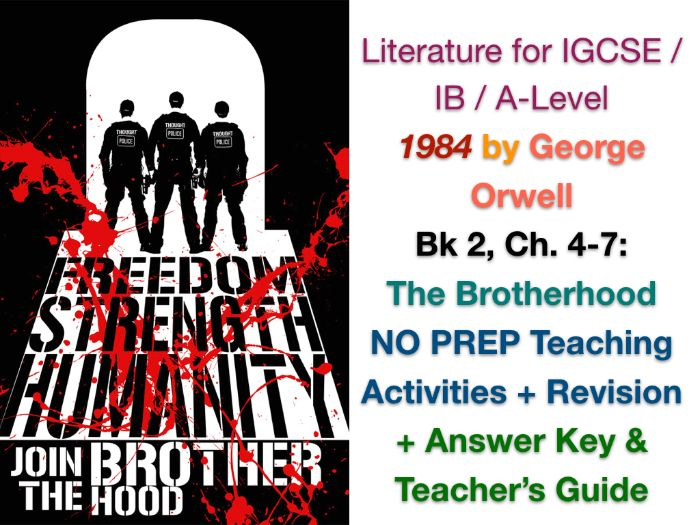 George Orwell - 1984 - Book 2, Ch. 5-7: The Brotherhood (IGCSE WORKSHEETS + ANSWERS)