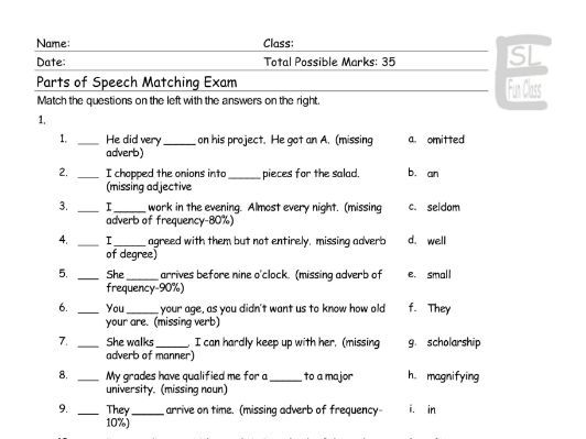 Parts Of Speech Matching Exam By Eslfungames Teaching