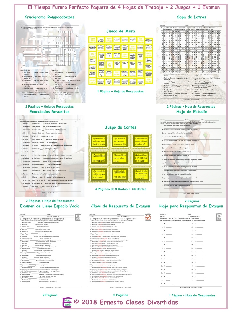 Future Perfect Tense Spanish Crossword Puzzle By Eslfungames