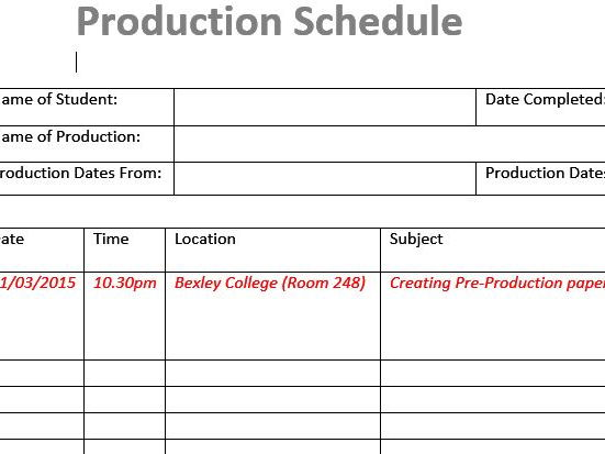 Production Schedule (Film & TV/Media Students)