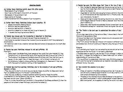 Edexcel Religious Studies B: Christian Beliefs, Living the Christian Life, Muslim Beliefs and Living the Muslim Life exam questions and answers
