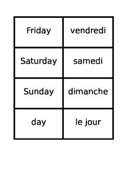 Jours, Mois, Saisons (Days Months Seasons in French) Concentration games