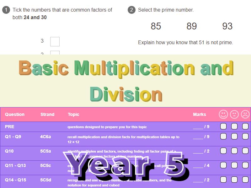 Basic Multiplication and Division Worksheet + Answers (KS2 - Year 5)