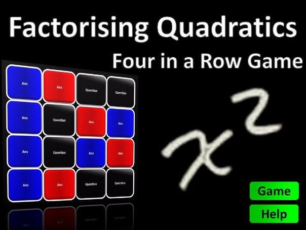 Four in a Row Interactive Quiz Game: Factorising Quadratics