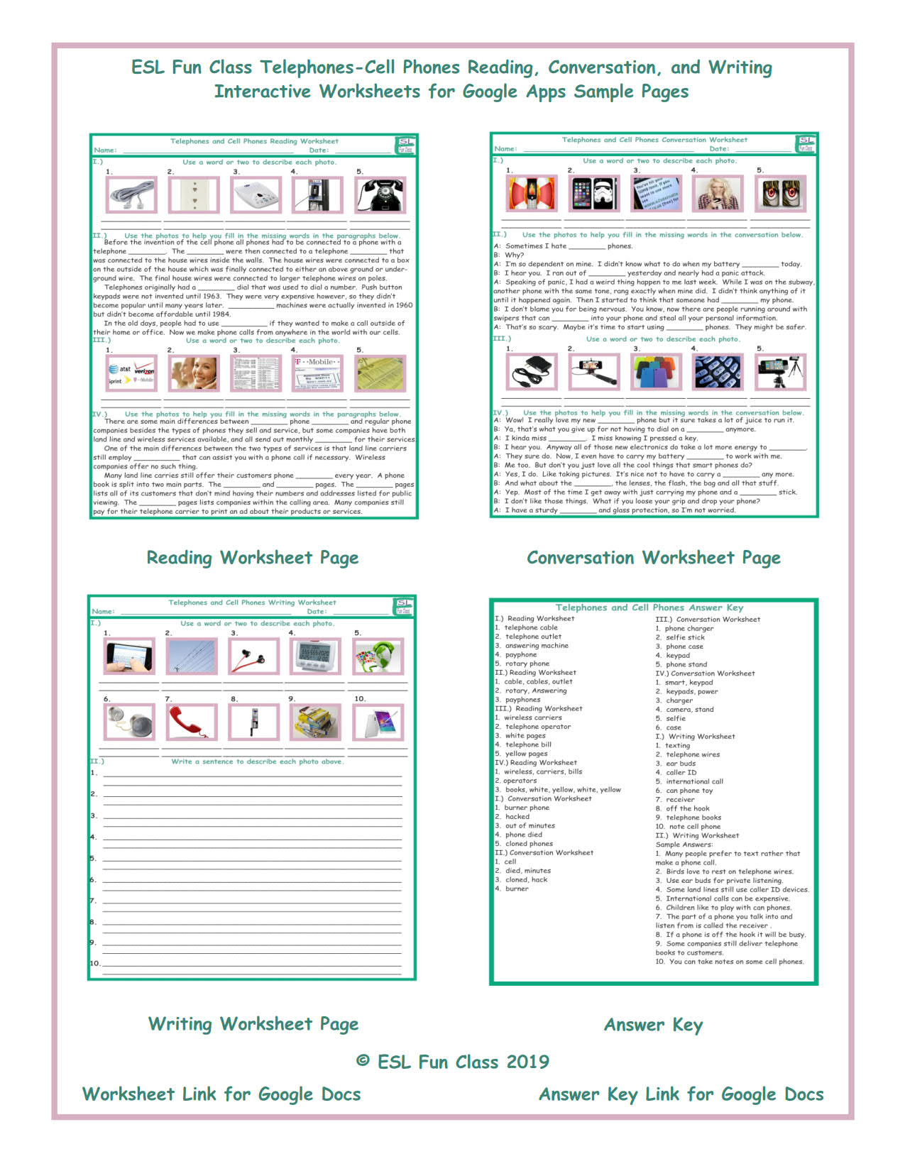 - Telephones-Cell Phones Read-Converse-Write Interactive Worksheets
