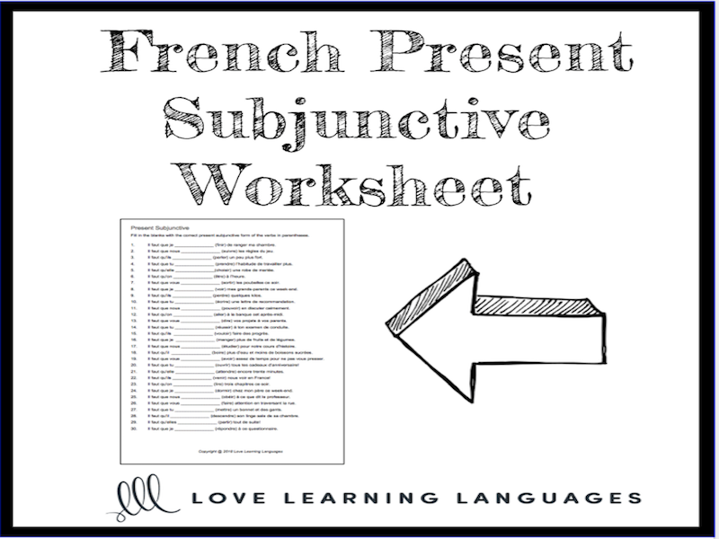 French Present Subjunctive Worksheet Il Faut Que Subjonctif