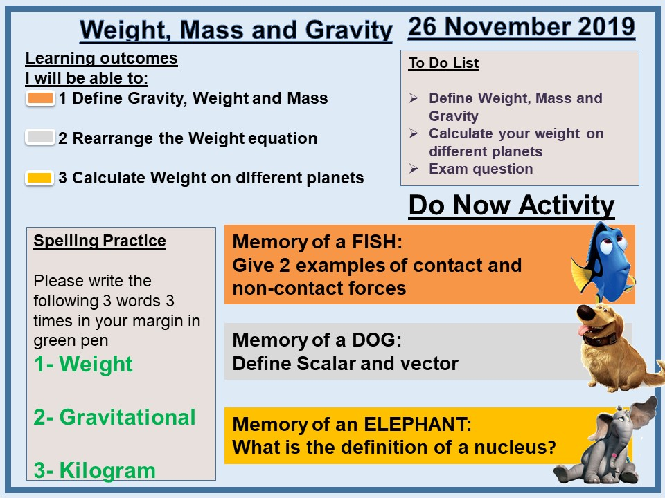 AQA GCSE P5 L3 Weight, Mass and Gravity Combined/Single Science