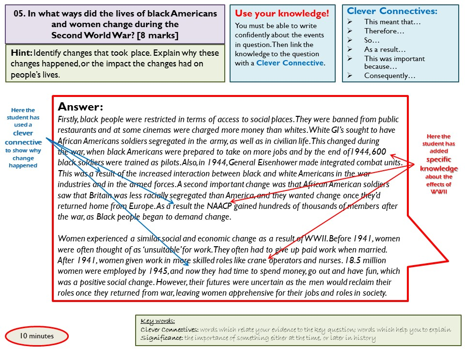 AQA GCSE 1-9 Paper 2 (USA/Conflict and Tension) practice questions with annotated model answers