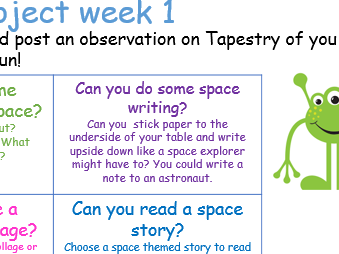 EYFS space topic home learning project early years school closure